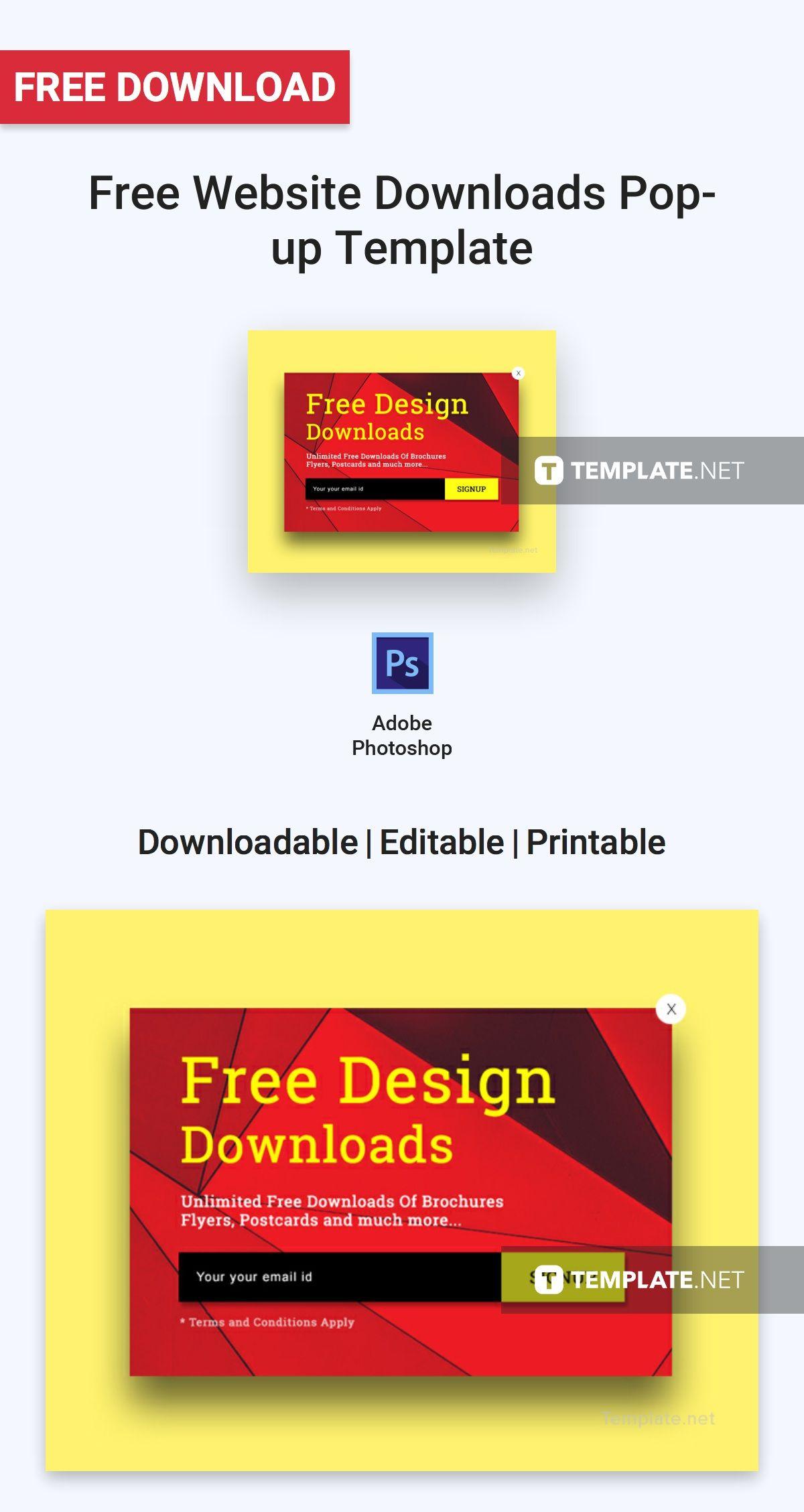 Free Website Downloads Popup Template Free marketing