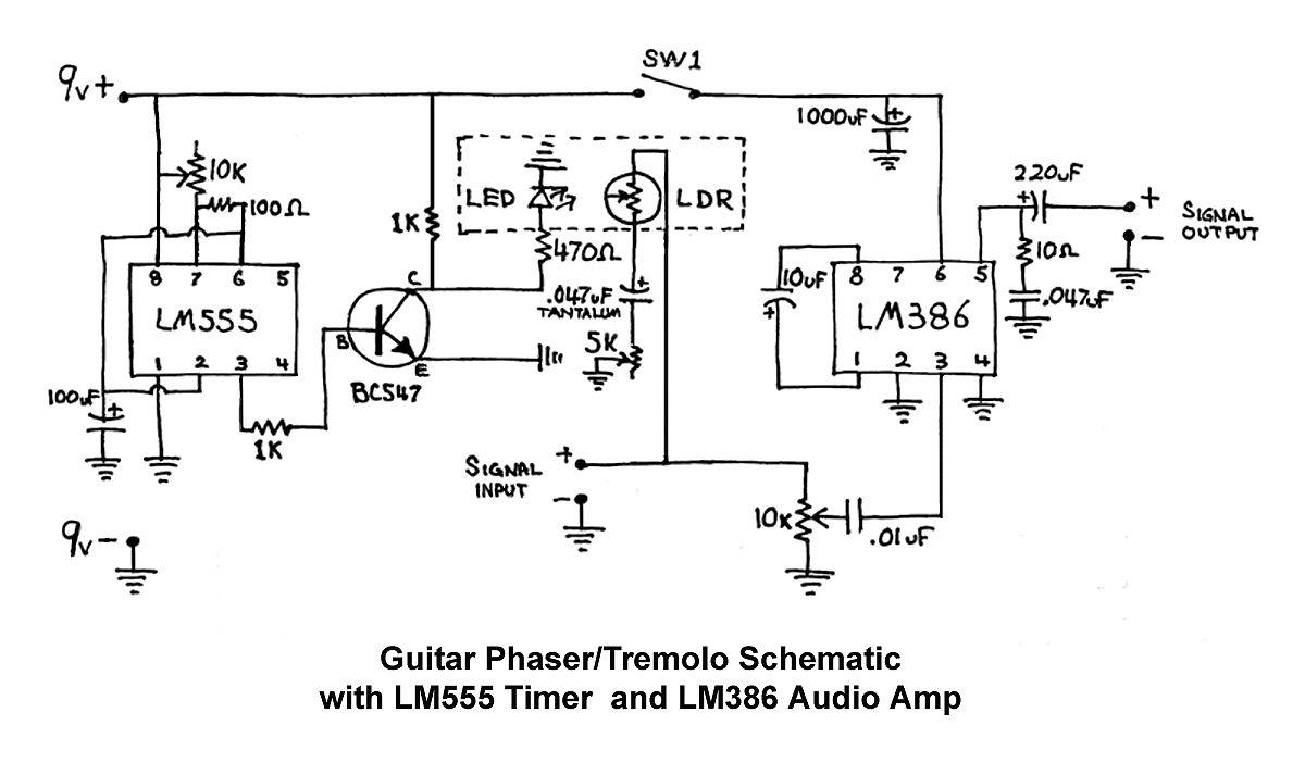 Phaser Tremolo Schematic Hack A Week Diy Guitar Pedal Guitar Pedals Guitar Effects Pedals