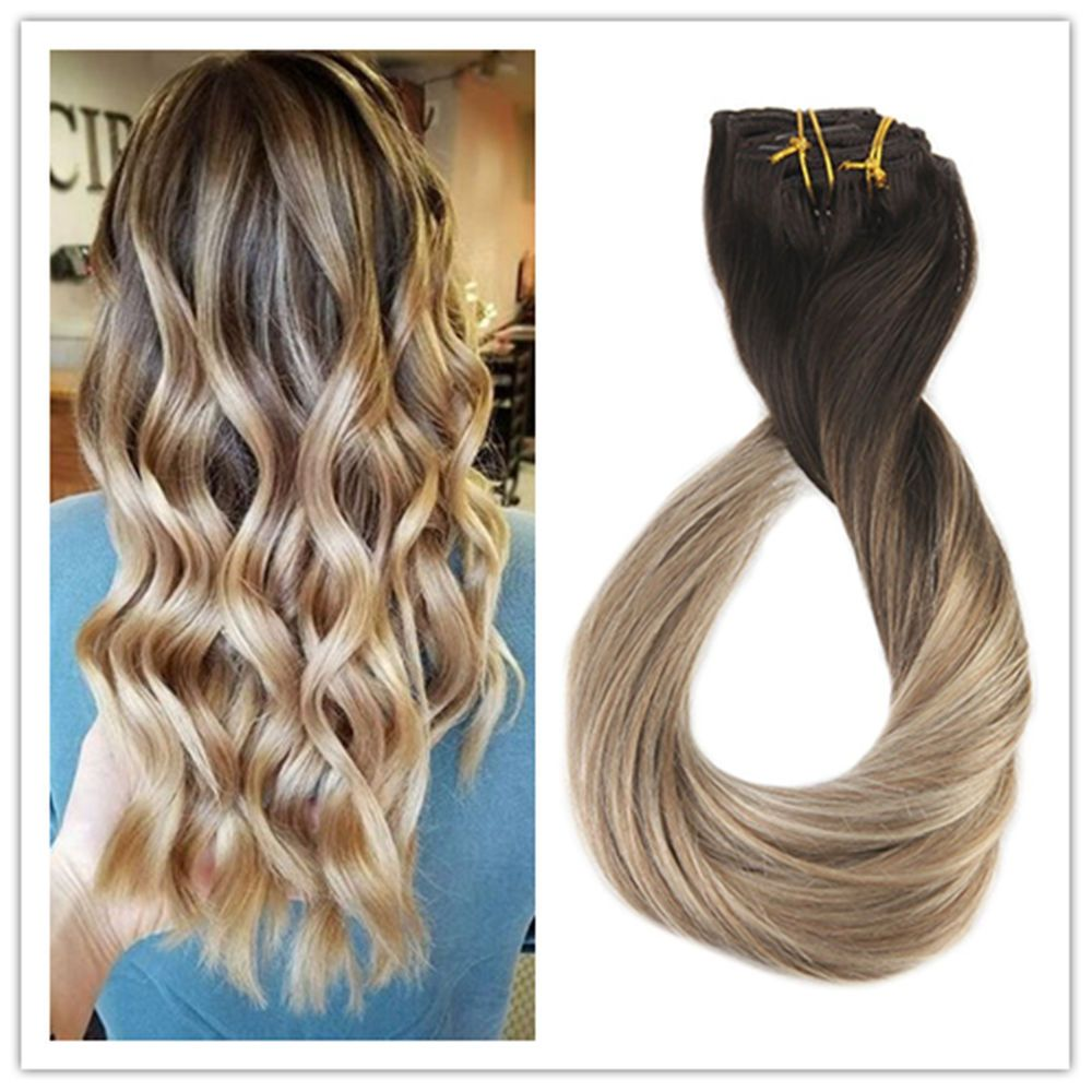 Full Shine Clip In Hair Extensions 10pcs Dip Dye Balayage Thick Remy