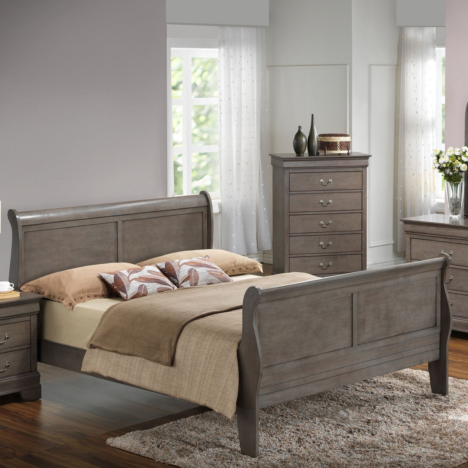 Glory Furniture Sleigh Bed Bed, Furniture, White