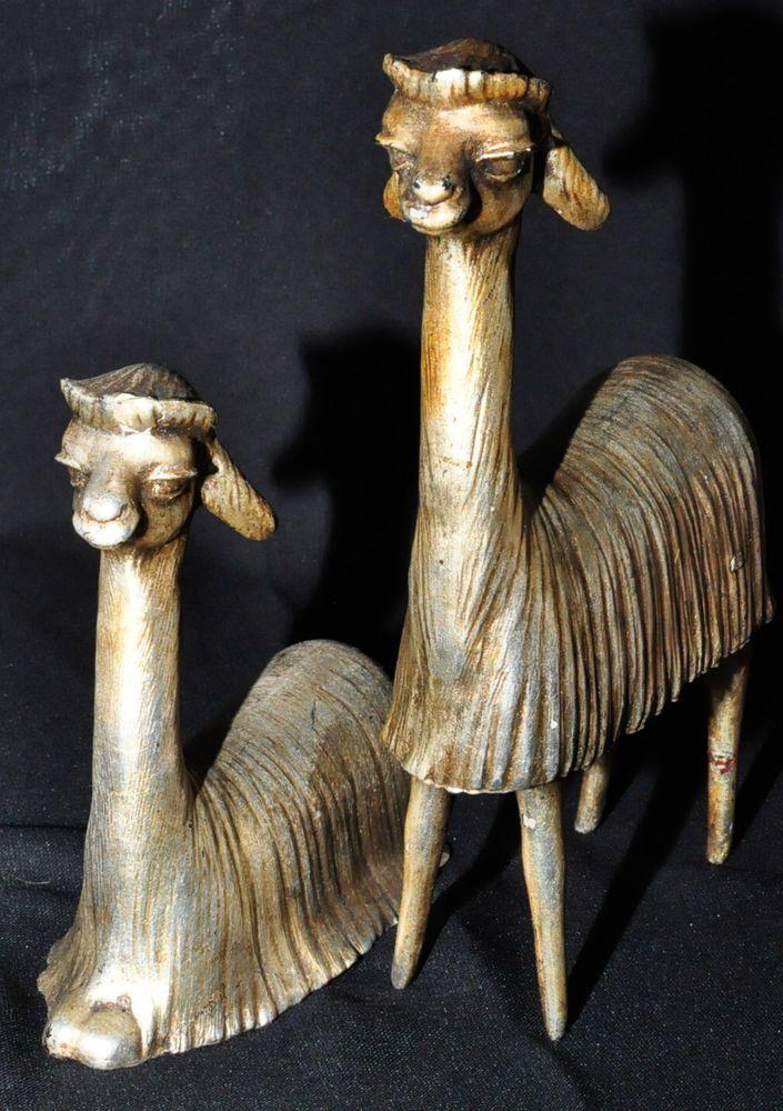Vintage Mid Century Freeman & McFarlin Pottery LLAMA Figurine pair #118, signed