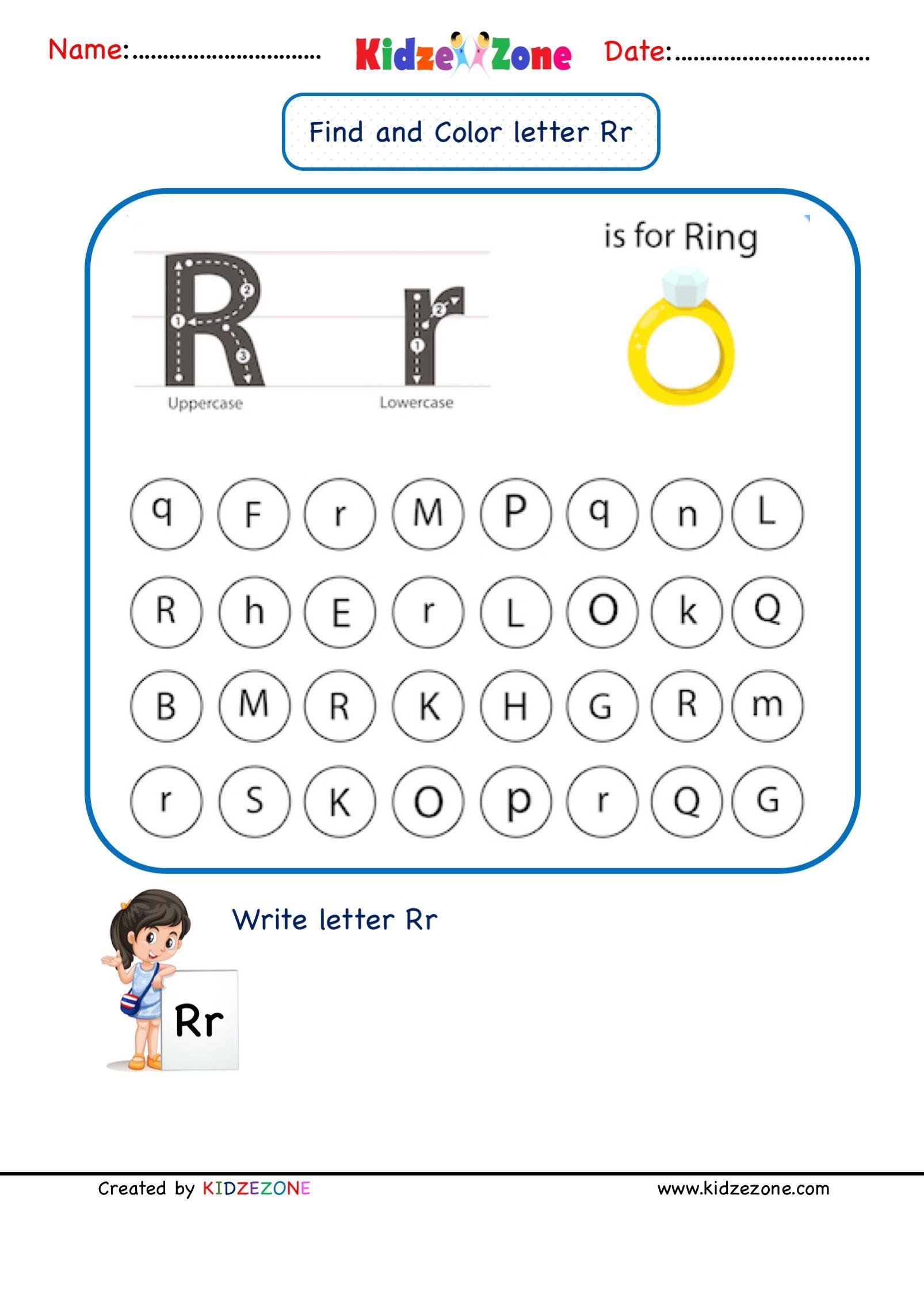 Letter R Find And Color Worksheet In