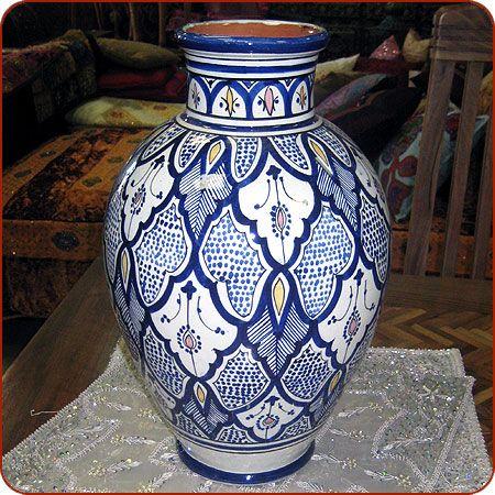 Safi Moroccan Vase Vase Ceramics Blue Pottery
