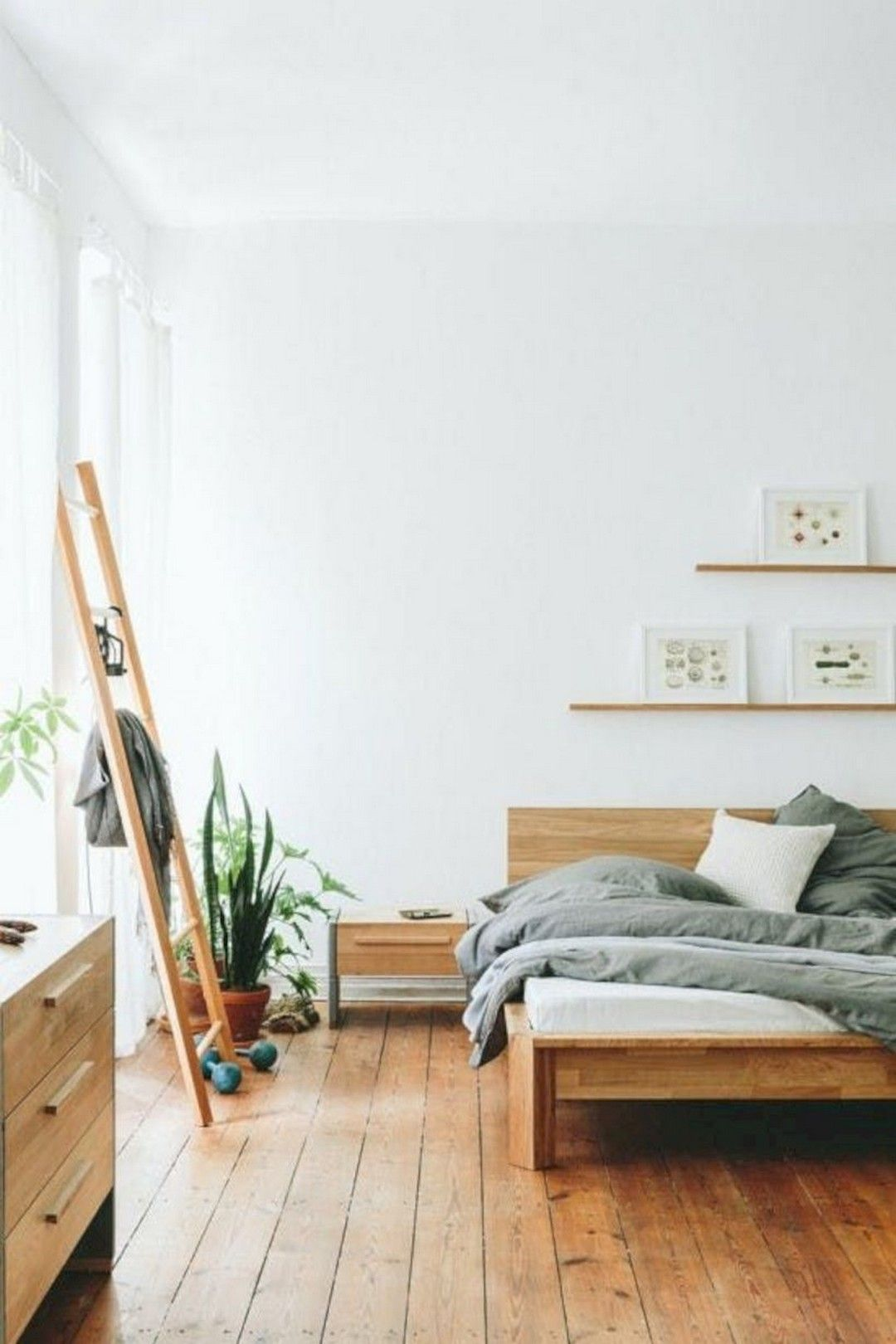 Minimalist And Scandinavian Inspired Bedroom In Natural Colors With A Warm Wooden Floor Minimalist Bedroom Design Minimalist Bedroom Decor Home Decor Bedroom