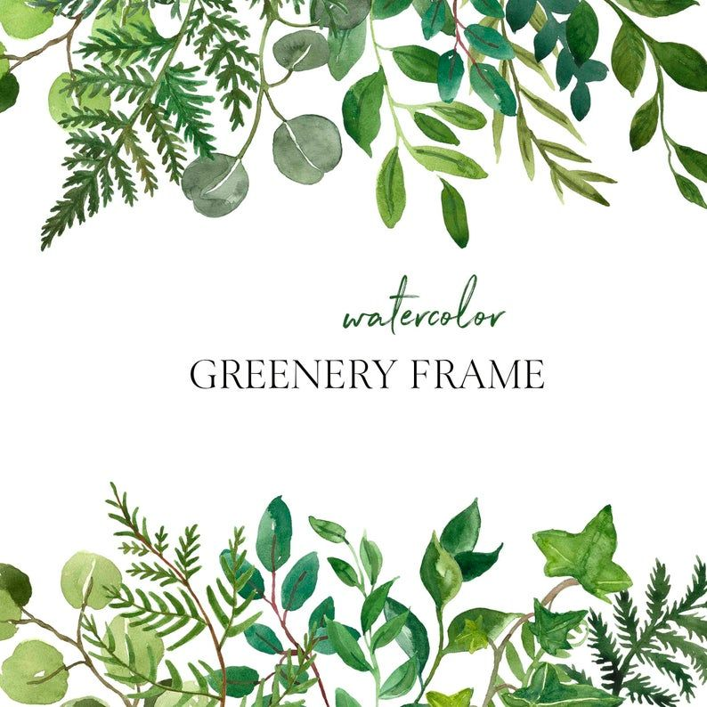 Watercolor Lush Greenery Frame Clipart Png Wreath Green Leaves Etsy Watercolour Wedding Stationery Clip Art Frame Clipart
