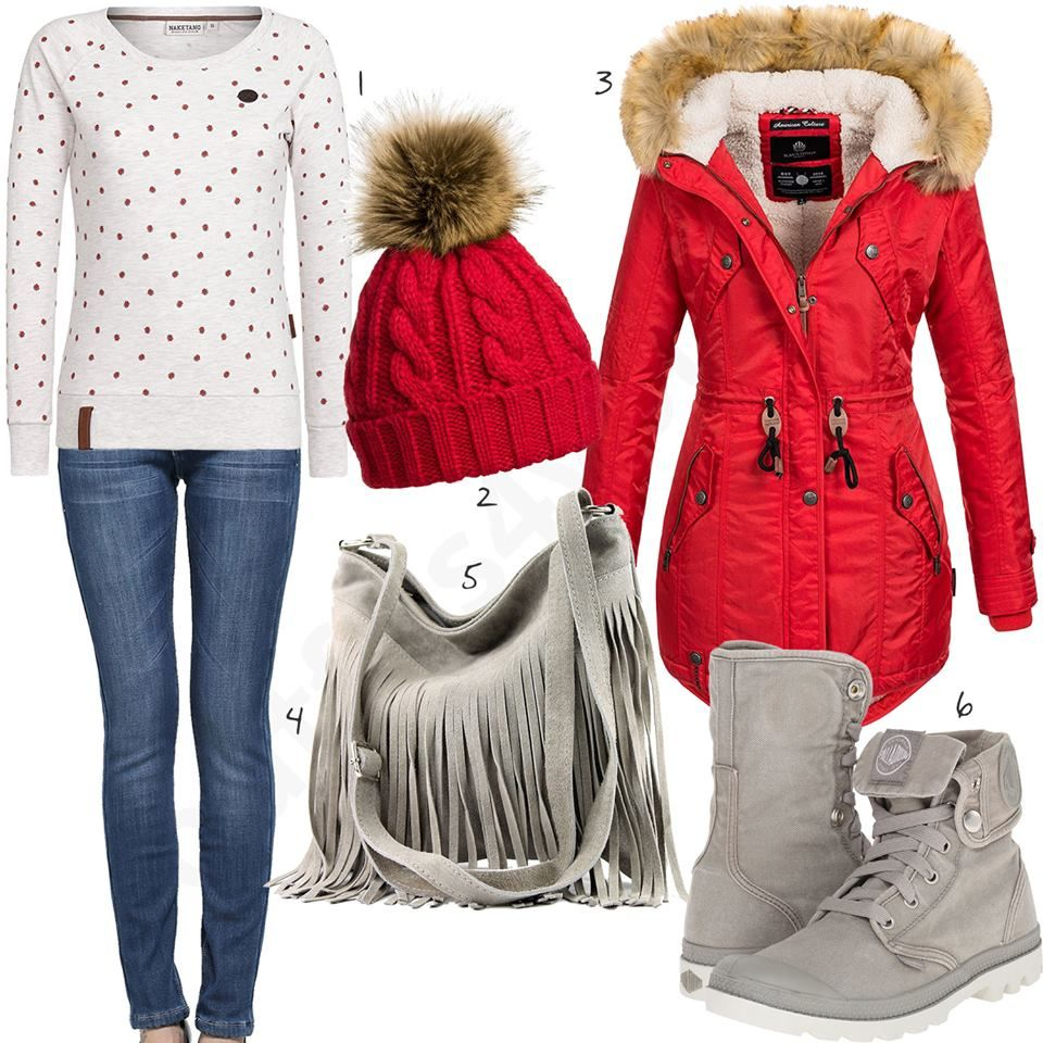 Beige-Rotes Damenoutfit mit Mantel und Mütze (w0762) #jacke #pullover #jeans #boots #jacke #mütze #outfit #style #fashion #womensfashion #womensstyle #womenswear #clothing #frauenmode #damenmode #handtasche  #inspiration #frauenoutfit #damenoutfit