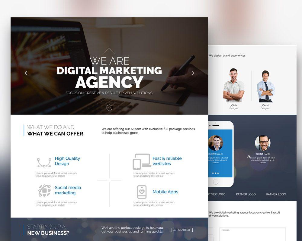 Cool Digital Marketing Agency Website Template Free Psd