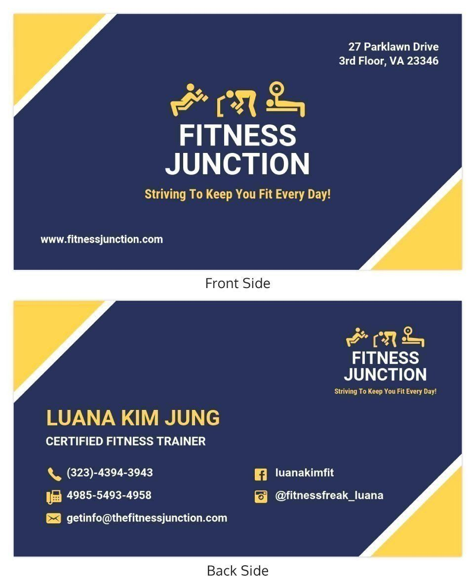 Bold Fitness Trainer Business Card Template in Dog