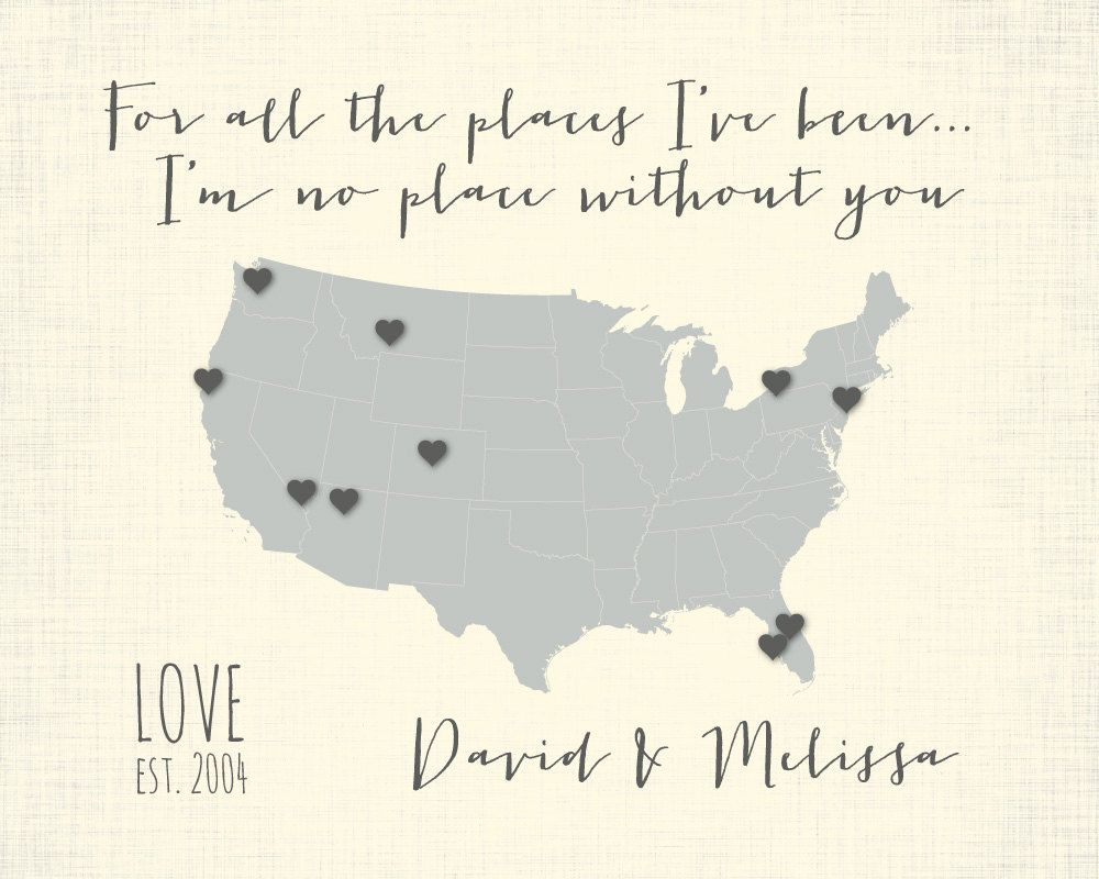 Anniversary Present Personalized Couple Gift Travel Map Print - Us travel map poster