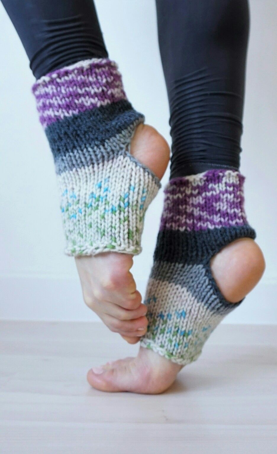 Boho style colorful hand knit dance socks. They are also great for ...