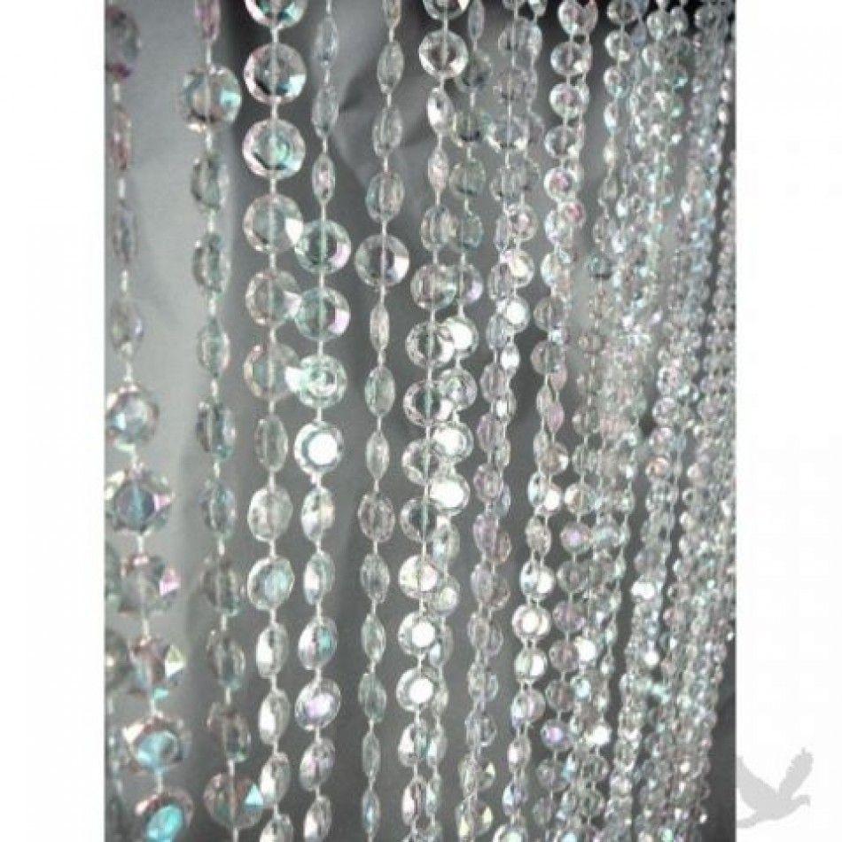 Ha hanging bead curtains for doorways - 3 X 12 Foot Beaded Curtain Panels Iridescent Crystal Diamond Cut Beaded Curtains