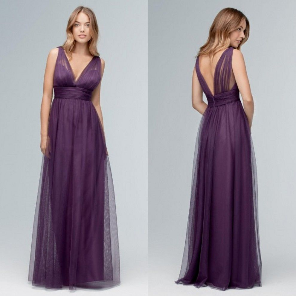 Click to buy deep v neck purple bridesmaid dresses a line click to buy deep v neck purple bridesmaid dresses a line sleeveless ombrellifo Images