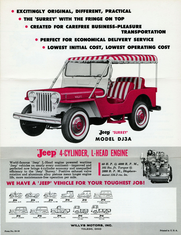 Jeep surrey model dj3a willys motors inc toledo ohio