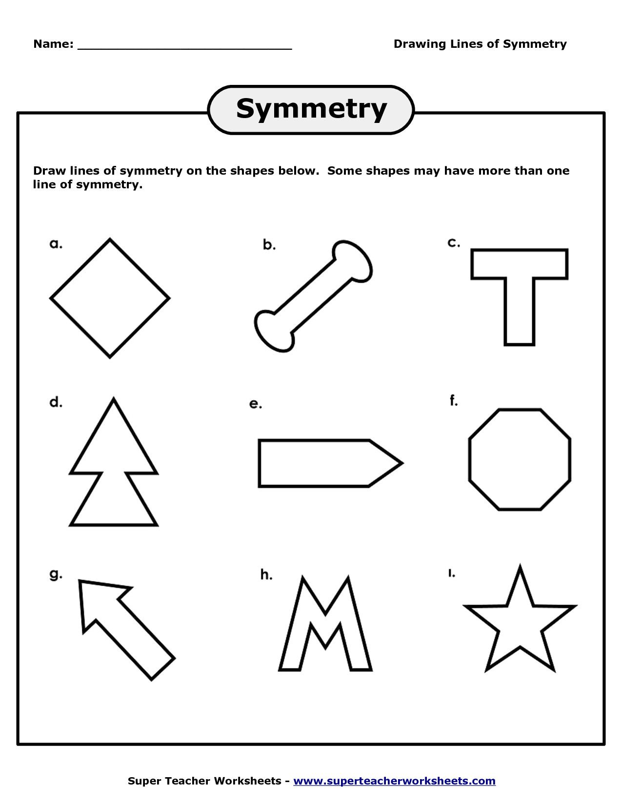Drawing Lines Of Symmetry Worksheets 4 With Worksheet