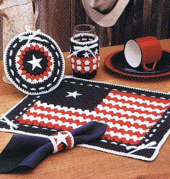 Lone Star Place Mat Set Crochet Pattern Texas Patriotic On Etsy