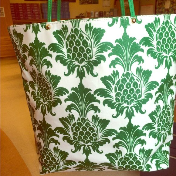 Charming Charlie's Pineapple Tote Cute coated canvas tote with kelly green handles and a whimsical pineapple print! Used a handful of times and in near new condition! Refresh your handbag collection for summer! Charming Charlie Bags Totes