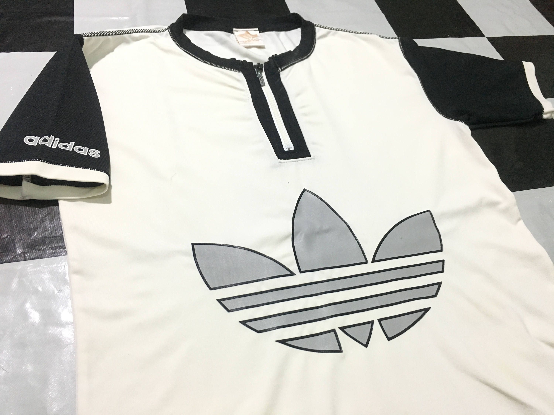 Vintage Adidas originals cycling jersey big logo trefoil color block ... 595a66198