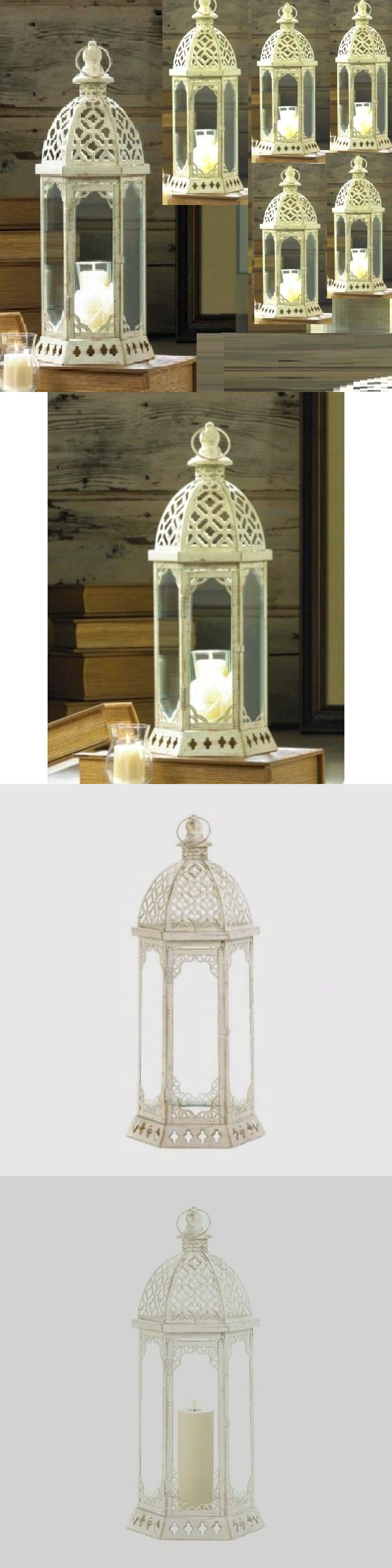 Centerpieces and Table D cor 159928: 6 Large Distressed Lantern 15.8 ...