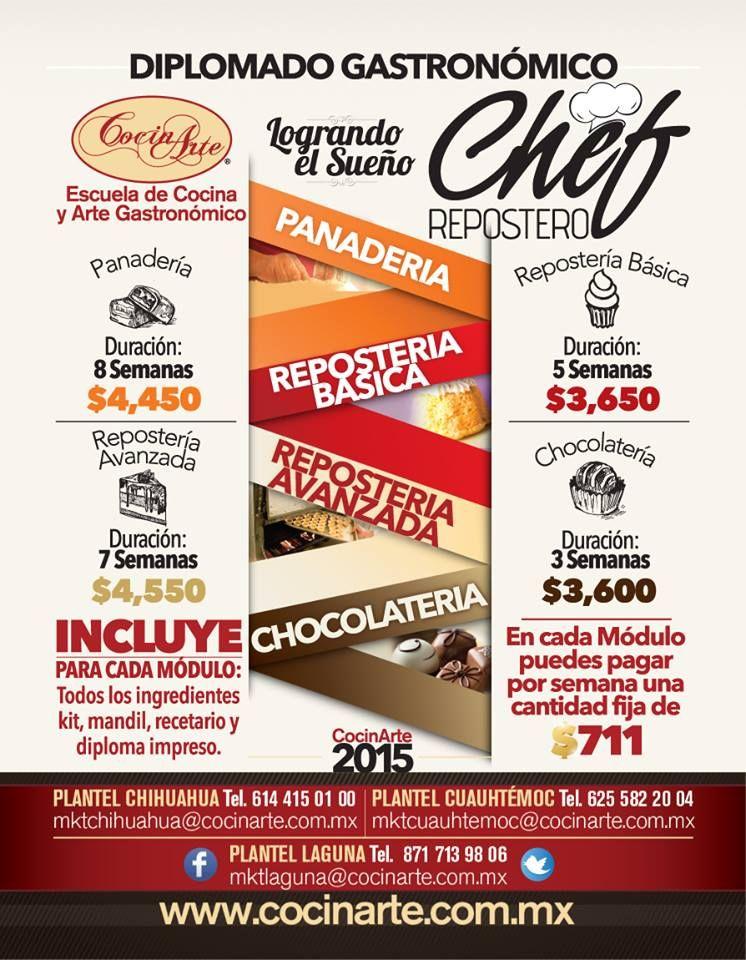 Diplomado Chef Repostero. http://www.cocinarte.com.mx/chef_repostero.htm #SoyCocinarte