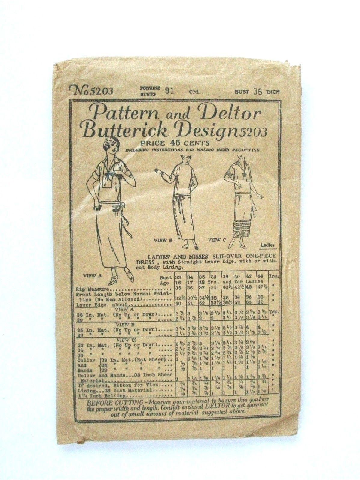 1920s Vintage 1923 Butterick Womans Dress Pattern 5203   eBay ...