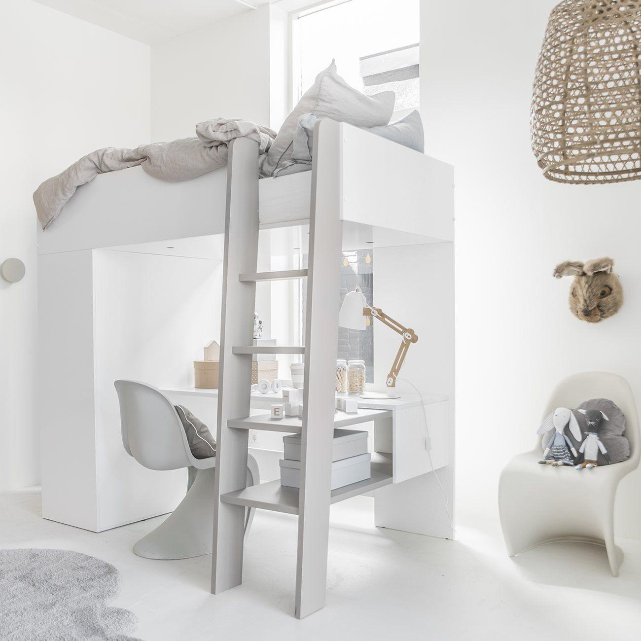 Hoogslaper Ombre 200x90 Kinder Bed Bureau Kast In Een Lit Mezzanine Enfant Lit Mezzanine Mezzanine Enfant