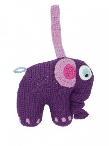 Sebra, heklet elefantspilledåse. Kan henges på barnevognen, ved bilsetet eller f.eks ved stellebordet. 100% bomull. Spiller en sang når du trekker i snabelen.