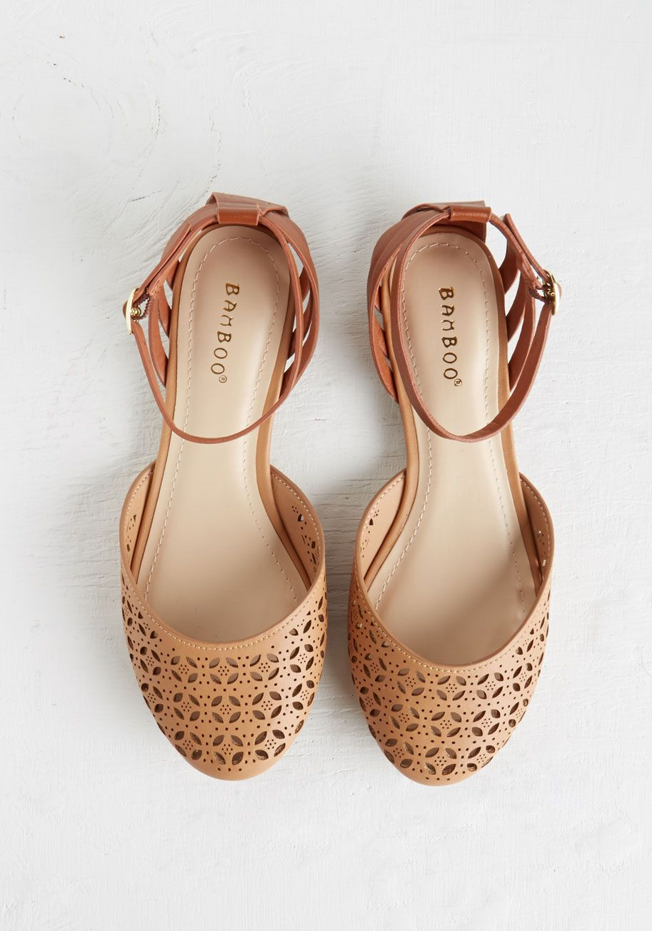 Count the Ways Flat in Tan. Tally the ways you love these vegan faux-leather flats - and the many outfits with which you plan to wear them! #tan #modcloth