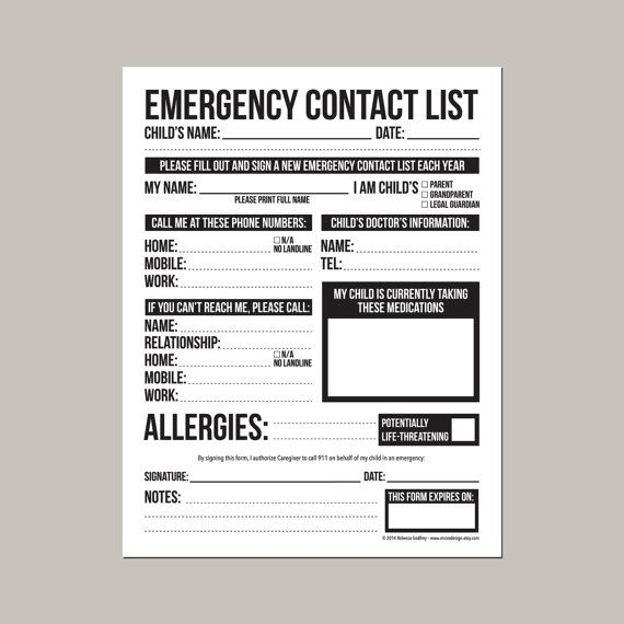 Emergency Contact Form For Nanny, Babysitter Or Daycare: Printable