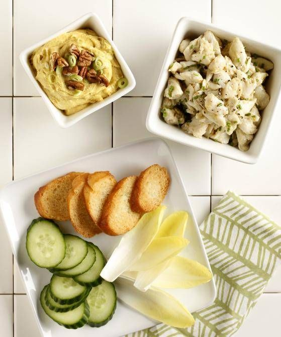 These two simple starters create the perfect balance for your next dinner party. Crab and a curry dip. Both excellent appetizers.