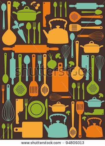Cute Kitchen Pattern Vector Illustration