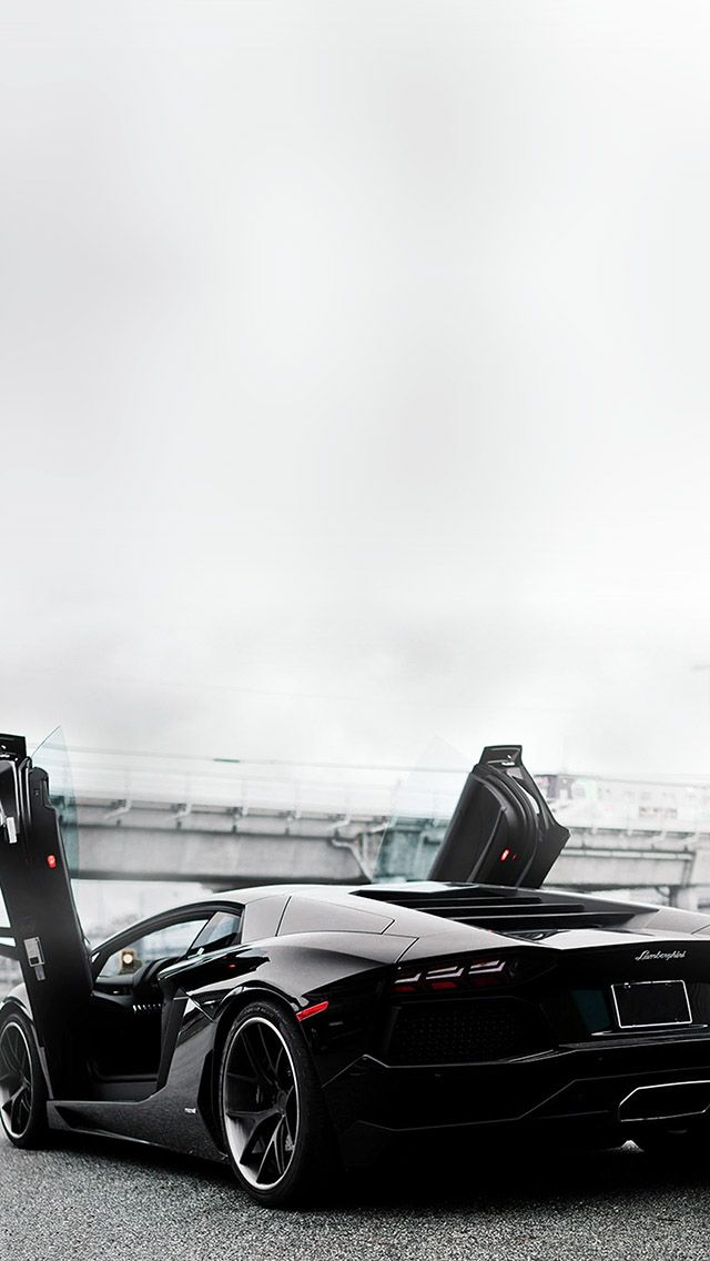 Aventador Black Open #iPhone #5s #Wallpaper