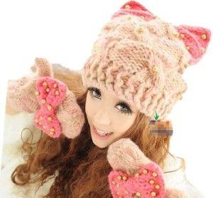 gorro mujer tejido de lana de gato oreja con diamantes de imitacion de  accesorios de moda informal (rosa blanca x) 0a044945f9c