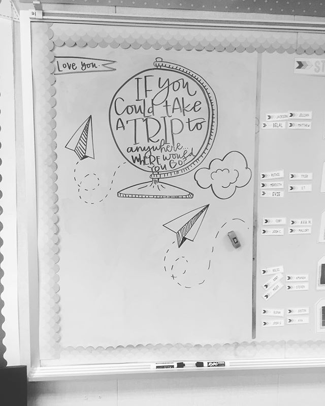 Our #miss5thswhiteboard for tomorrow morning ✏️❤️✈️ #teachersfollowteachers #iteachsecond #tptcheckoutmyclassroom