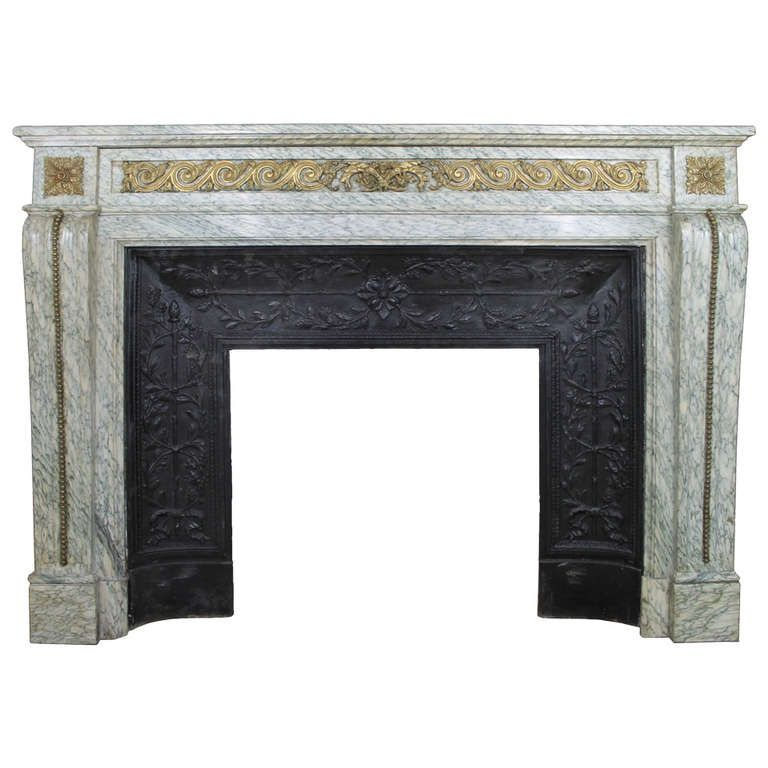 """Antique Louis XVI """"Escargots"""" Fireplace Chimneypiece in Green Cipollino 