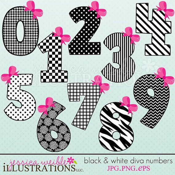 Black White Diva Numbers Cute Digital Clipart For Invitations Card Design Scrapbooking And Web Design Clip Art Black And White Digital Clip Art