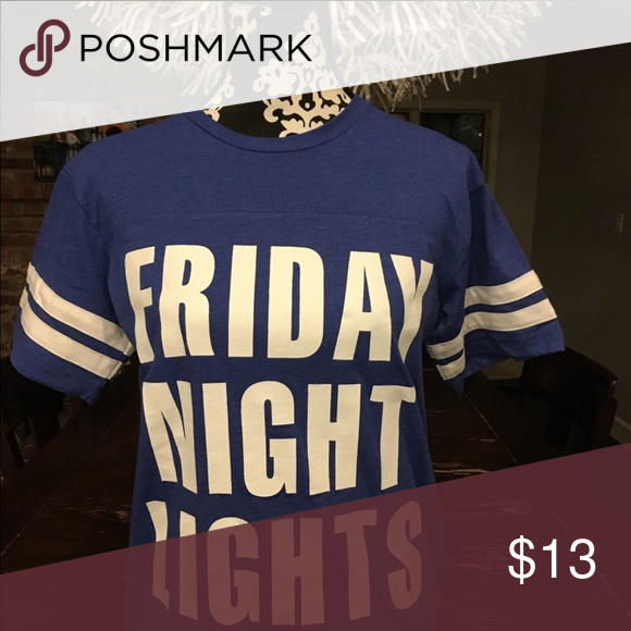 "Friday Night Lights T-shirt. Blue T-shirt with white ""Friday Night Lights.""  White stripes on sleeves. Tops Tees - Short Sleeve #fridaynightlights"