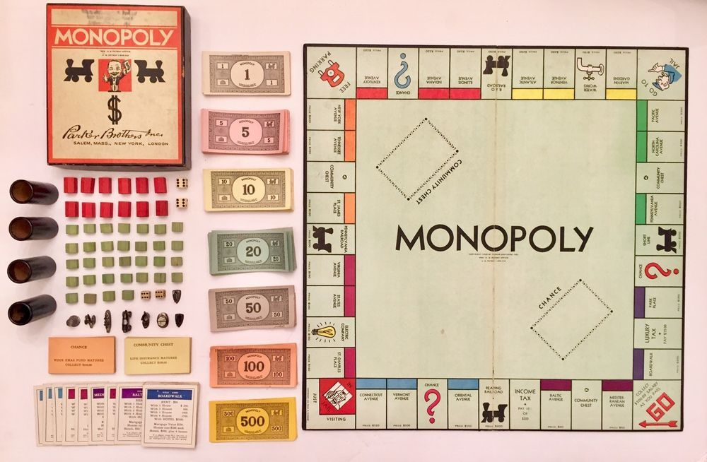 Vintage 1935 Monopoly Board Game Complete With Box Wood Houses