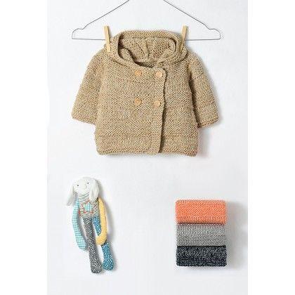 0566c7871fde Laine Modèle layette - Paletot à capuche   tuto tricot bébé enfant ...