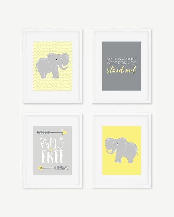 Elephant Nursery Prints Tribal Wall Art Yellow Gray Gender Neutral Wild Free Q
