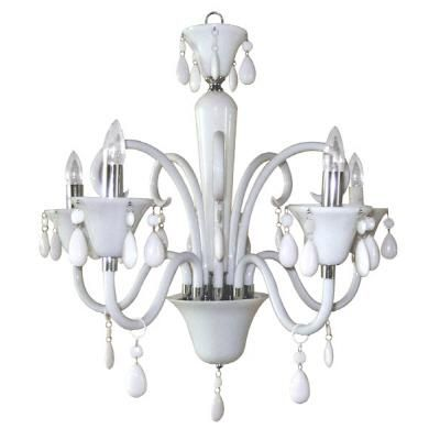 Bath/Laundry Room  $199  Titus Manufacturing Ltd. - Euphoria Five-Light Polished Chrome Chandelier with White Lucite Jewel Drops - 299190/5WH - Home Depot Canada