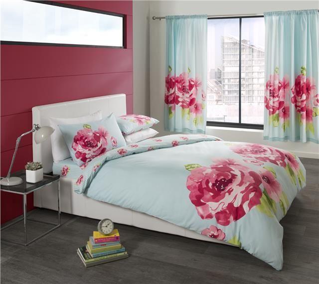 Turquoise Pink Flower Print Double Quilt Cover Duvet Set