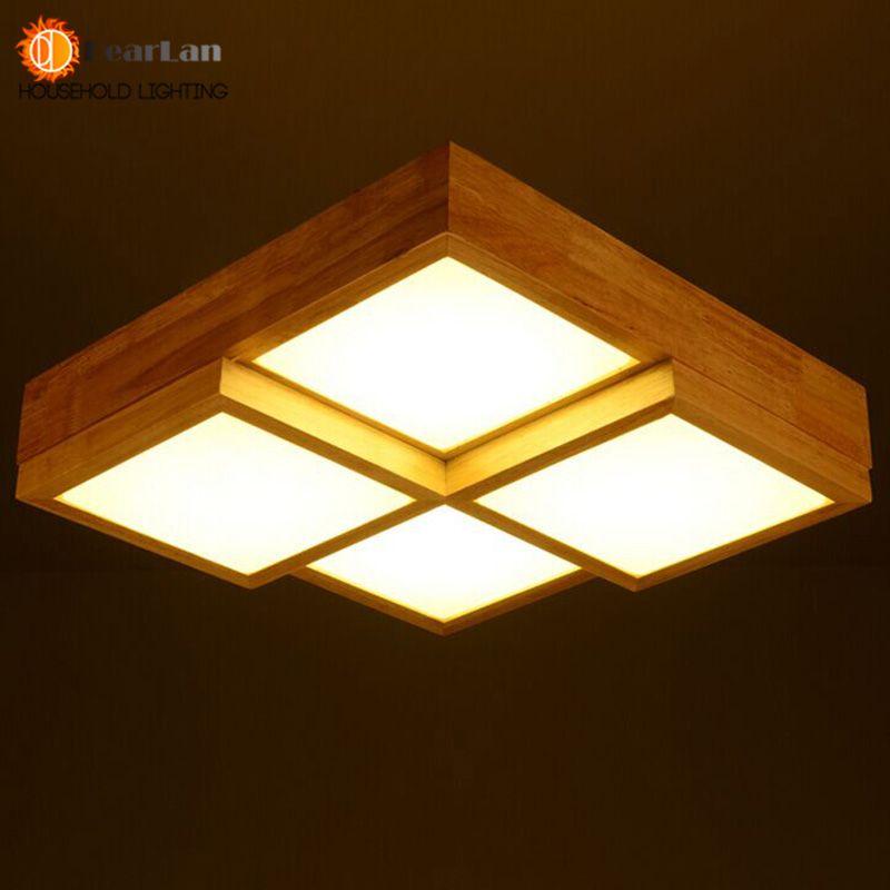 goedkope massief houten eenvoudige stijl led lampen plafond eenvoudige gang balkon ingang vierkante hout slaapkamer lamp ac lamp inbegrepen koop kwaliteit