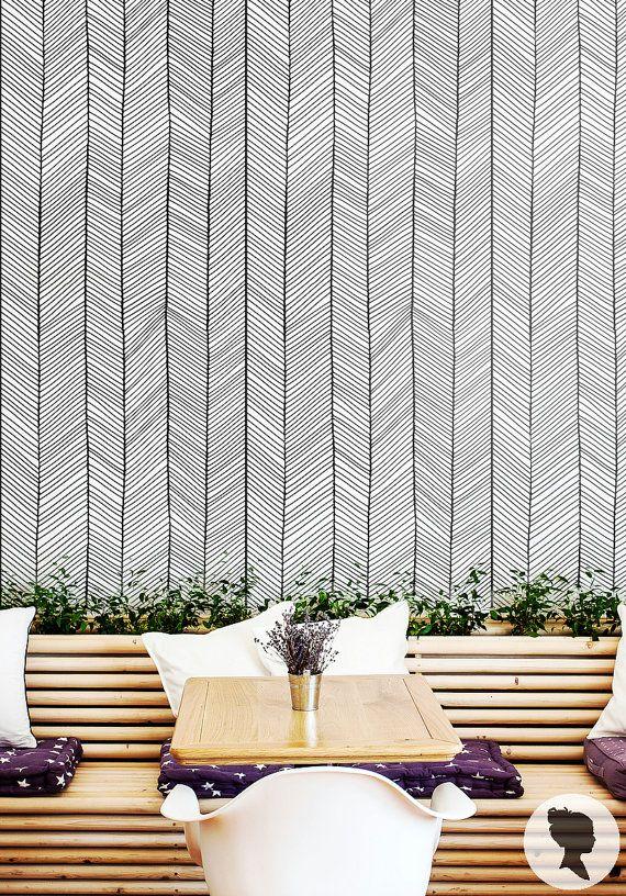 Charming Graatvormige Patroon Verwisselbare Behang Muur Van Livettes Op Etsy Idea