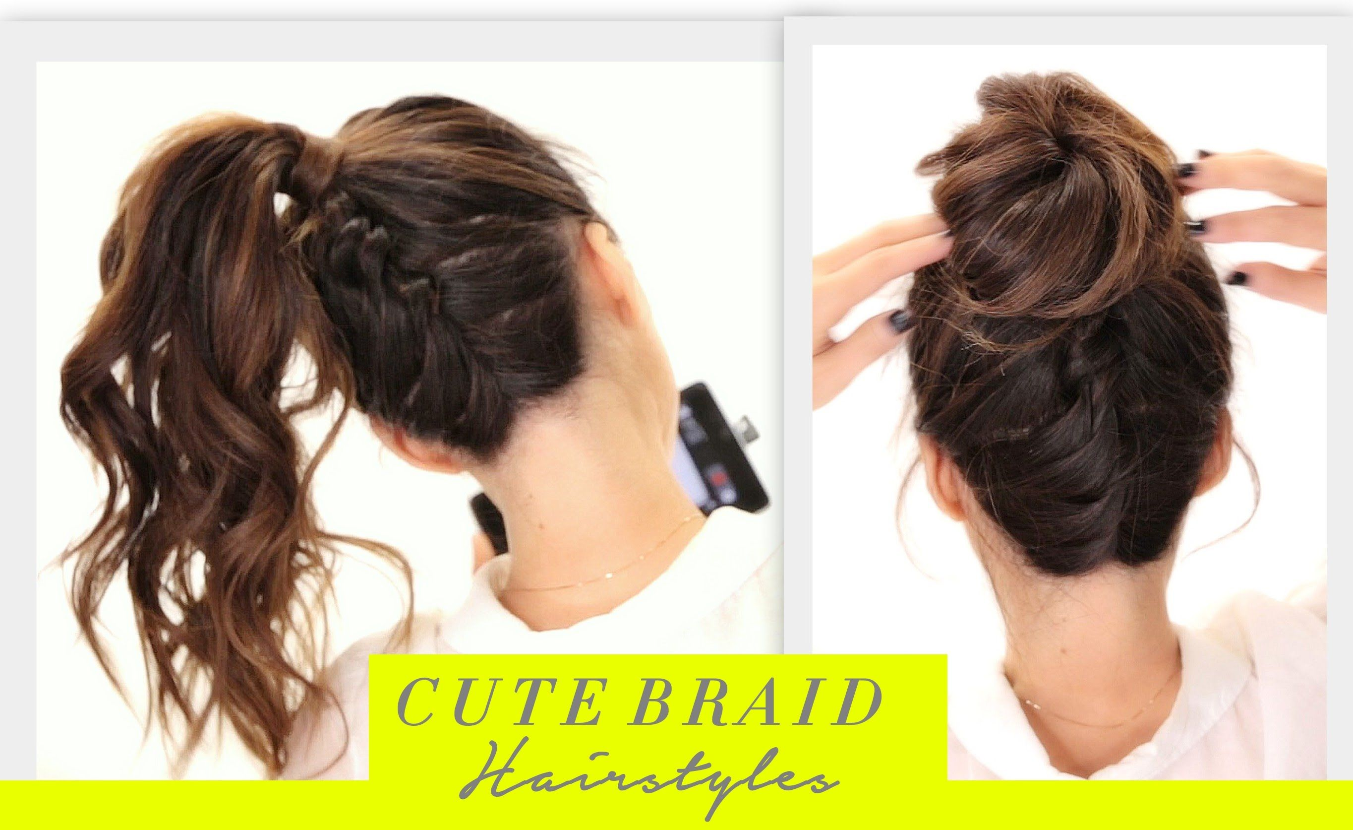 Cute Back To School Hairstyles Braided Ponytail Into A Big Messy Bun Hair Tutorial Bun Styl Braided Hairstyles Bun Hairstyles Cool Braid Hairstyles