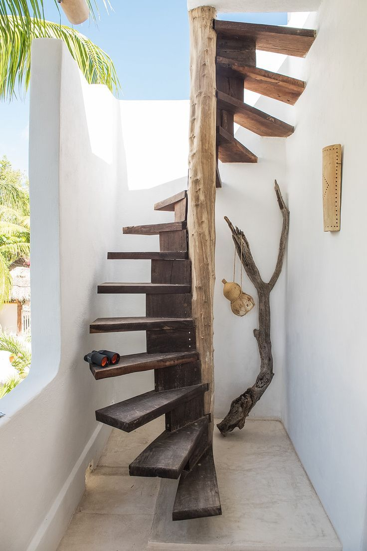 love these wooden spiral stairs outdoor spaces pinterest