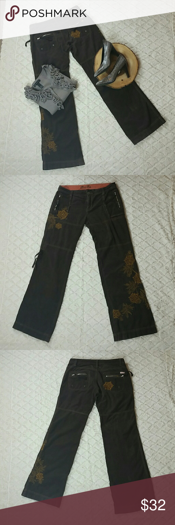 """Brown embroidered corduroy Miss Me Pants Gorgeous pants by Miss Me  Brown  Corduroy  Embroidered  MISSING BOTTOM LACES TO COVERT INTO CAPRIS  Measurements: (taken with item laying flat)  Length: 40"""" or 101.60 cm (waist to hem)  Waist: 16.5"""" or 41.91 cm  Hips: 20"""" or 50.80 cm  Rise: 8.5"""" or 21.58 cm Inseam: 33"""" or 83.82 cm Miss Me Pants Boot Cut & Flare"""