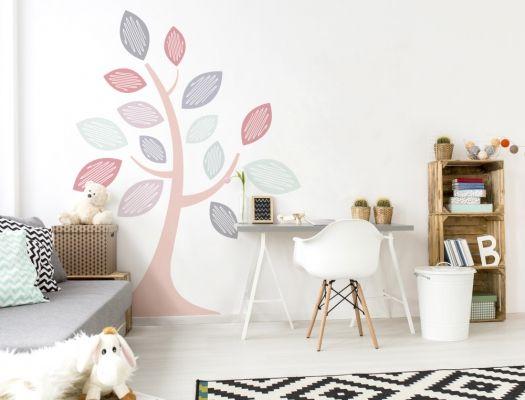 Kinderzimmer Wandtattoo Baum mit zarten Pastelltönen