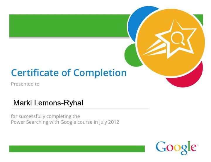 Google Power Search Certificate of Completion HIRE Marki Lemons - printable certificates of completion