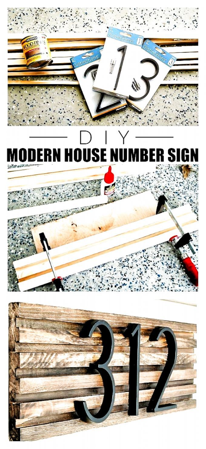 How to make a modern house number sign from square dowels. #diyhousenumber #curbappeal #frontporch #porchdecor #diy #moderndecor #diydecor #housenumbersign # #Furniture