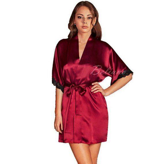 ce97a15db9 Natural Silk short red Robe Kimono Silk Bathrobe silk Gown Sexy ...
